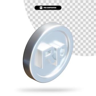 Серебряная монета рупия 3d-рендеринга изолированные