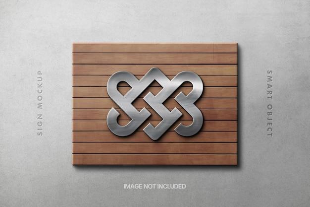 Silver sign on a wooden platform logo mockup