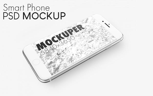 銀のスマートフォンpsdモックアップ