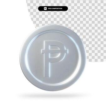 Серебряная испанская песета монета 3d-рендеринга изолированные