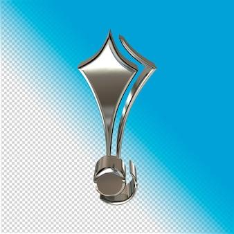 Серебряный символ 3d-рендеринга