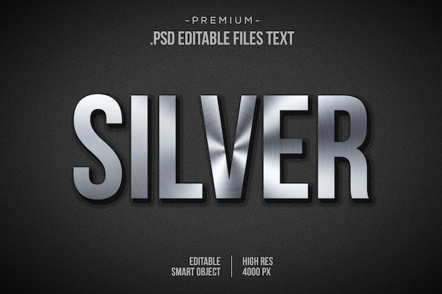 Silver text effect, 3d silver layer style, 3d silver font style effect mockup, shiny silver 3d style text effect