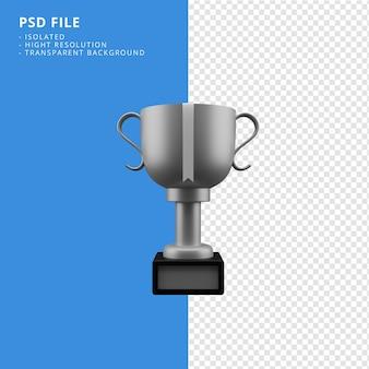 Серебряный трофей значок 3d-рендеринга