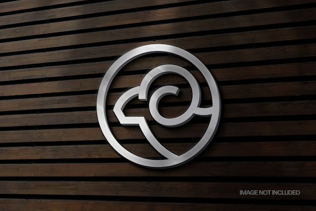 Silver wall sign logo mockup with shadow overlay