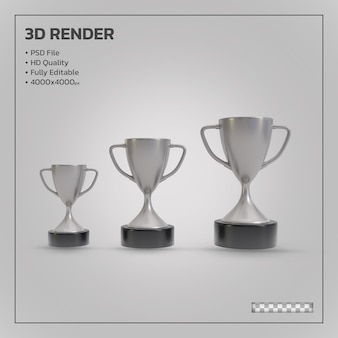 Silver winners trophy realistic isolated 3d render