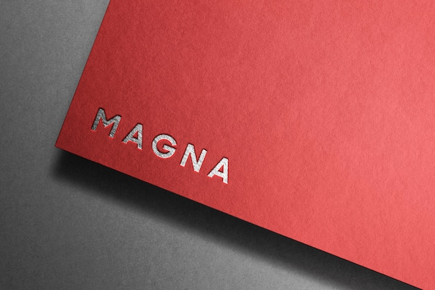 Silver word template on red paper