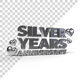 Silver years anniversary for valentine and romantic season 3d render
