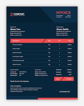 Simple abstract dark business invoice template