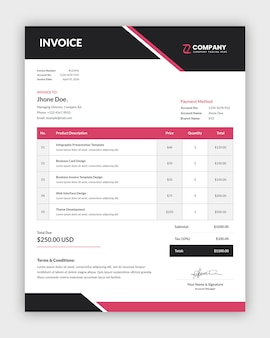Simple abstract invoice template