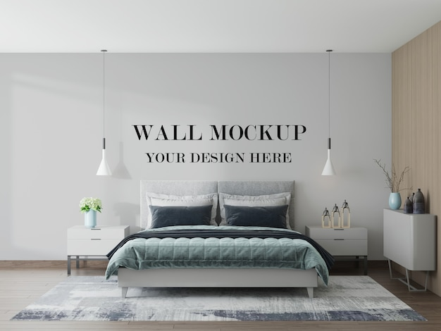3dレンダリングでシンプルで居心地の良い寝室の空白の壁のモックアップ