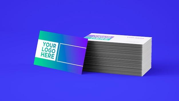 青い技術名刺モックのシンプルでモダンな3dpsdモックアップ