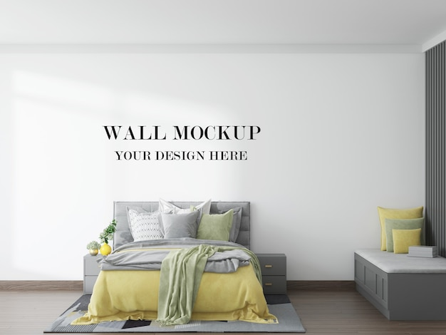 Simple and beautiful bedroom wall background in 3d rendering