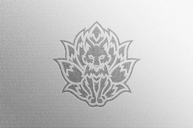Simple black sketch logo mockup in clean white pressed paper