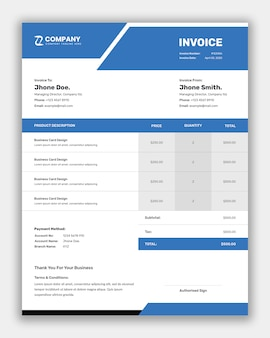 Simple business invoice template