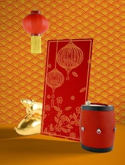 Простой китайский новый год иллюстрация с барабаном
