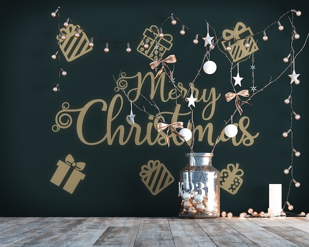 Simple christmas decoration with lights and wallpaper mockup