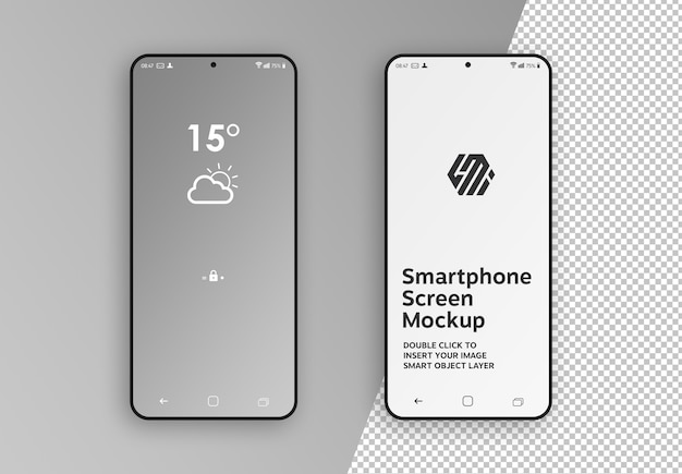 Simple and clean smartphone screens mockup