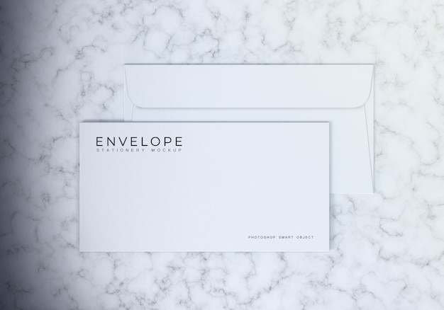 Simple clean white monarch envelope mockup design with marble table