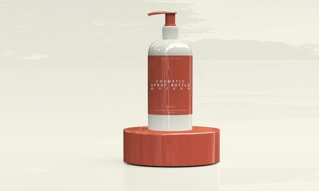 Простая косметическая бутылка с распылителем и макет бутылки с помпой