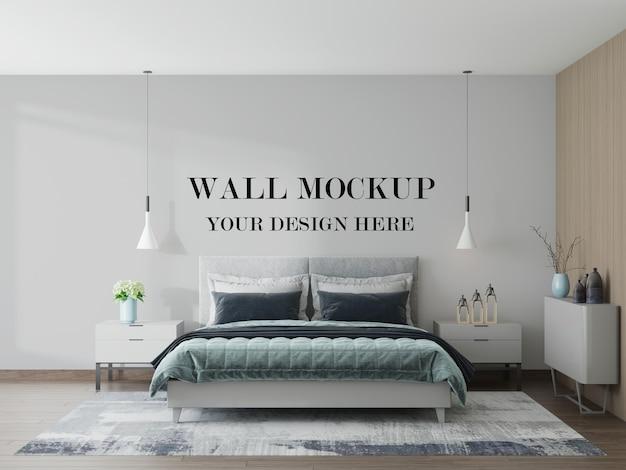 Simple and cozy bedroom blank wall mockup in 3d rendering