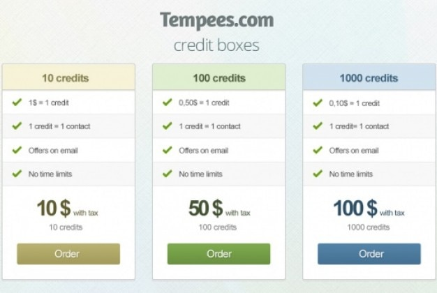 Simple credit boxes with color variations