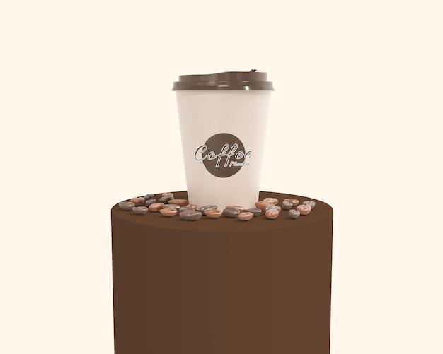 表彰台付きのシンプルなカップコーヒーのモックアップ
