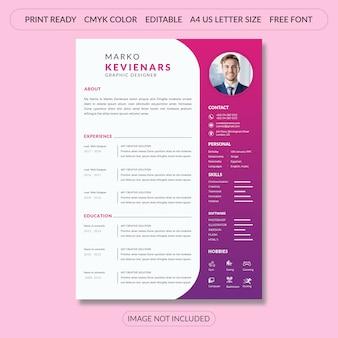 핑크에 간단한 이력서 이력서 템플릿 디자인