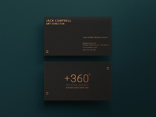 Simple dark business card mockup template