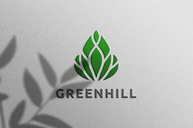 Простой макет логотипа с тиснением и тенью растений