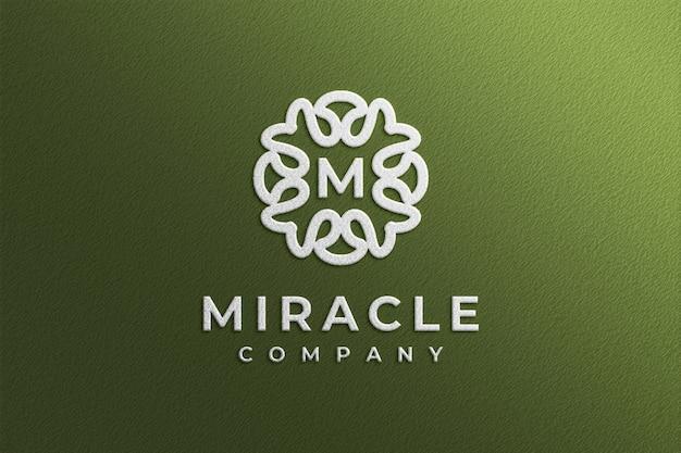 Simple debossed white logo mockup