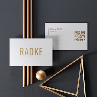 Simple elegant business card mockup with gold ornament