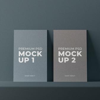 テクスチャードデザインのシンプルでエレガントなカードのモックアップ