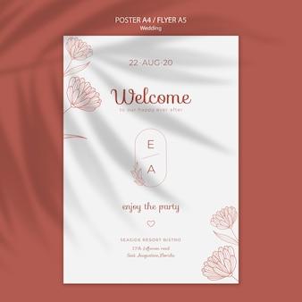 Modello di poster semplice ed elegante per il matrimonio