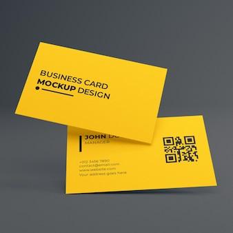 간단한 우아한 노란색 명함 모형 디자인