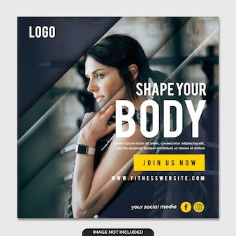 Simple fitness social media post template instagram post