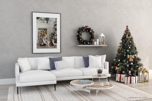 크리스마스 트리와 소파 모형이 있는 간단한 프레임