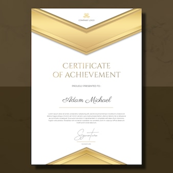 Simple gold certificate of achievement template