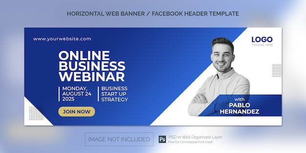 Simple horizontal banner template or facebook cover for online class program