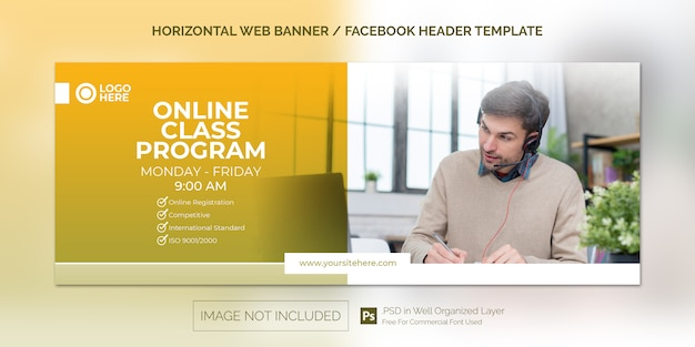 Простой горизонтальный шаблон веб-баннера для продвижения программы онлайн-занятий