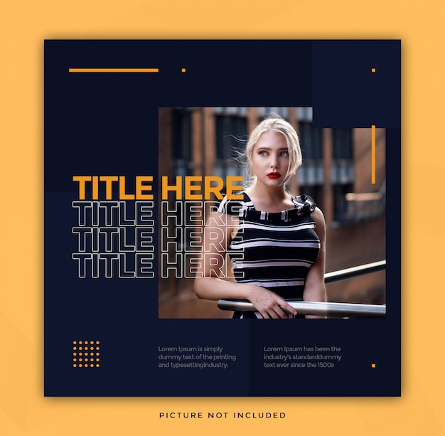 Simple instagram template with text effect