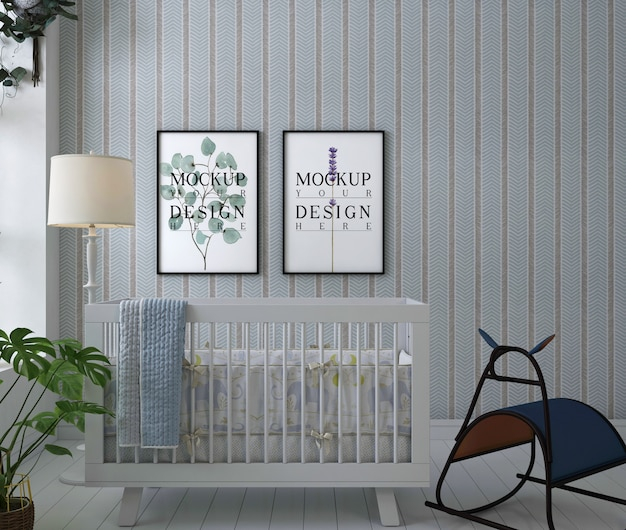 Simple interior for nursery with mockup poster framed