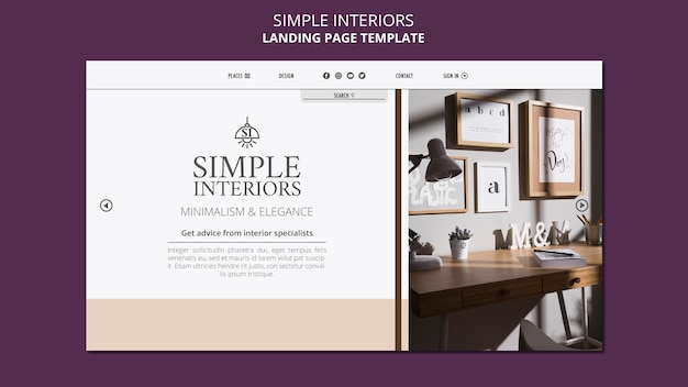 Simple interiors landing page template