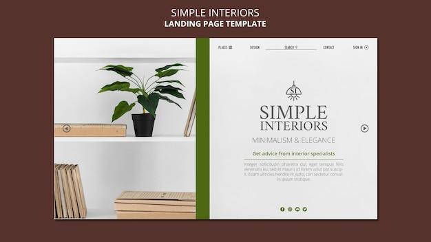 Simple interiors landing page