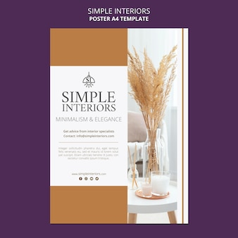 식물과 간단한 인테리어 포스터 템플릿