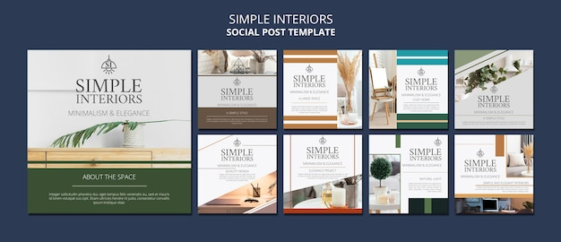 Simple interiors social media post template