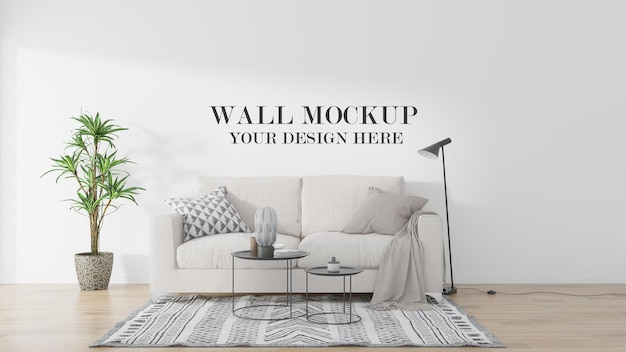 Simple living room wall template in 3d rendering