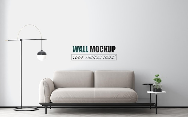 Simple living room with modern furniture wall mockup