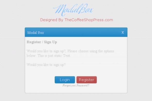 Simple login screen with modal box