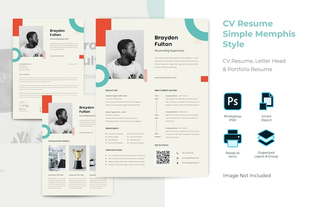 Simple memphis finance cv resume template
