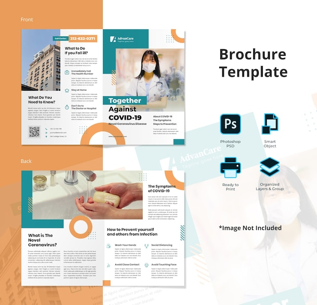 Simple memphis medical bifold brochure template